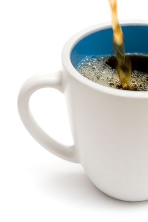 Serving fresh hot coffee. White background.