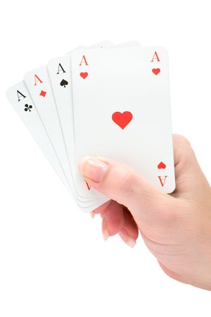 Woman holding playing cards. Isolated on a white background. photo