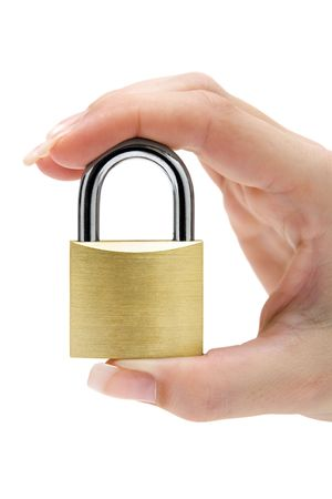 thieving: Security concept. Isolated on a white background. Stock Photo