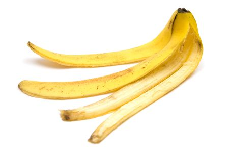 unanticipated: Banana peel. White background. Stock Photo