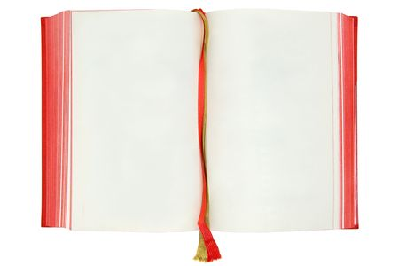 textfield: Opened old book. Copy space for your own text. Isolated on a white background.