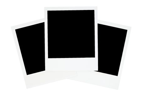 white polaroids: Photo frames isolated on a white background. Stock Photo