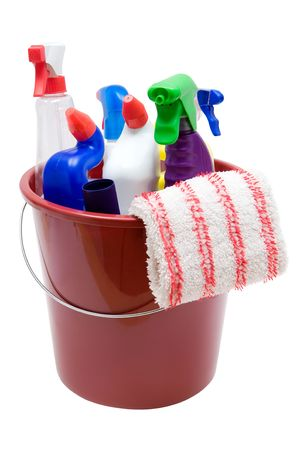 disinfect: Various cleaning utensils in a bucket. Isolated on a white background. Stock Photo