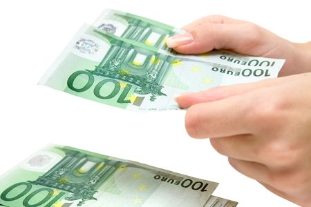 Woman stacking Euro bills. Isolated on a white background. Stock Photo - 2705874