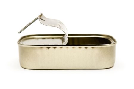 storage bin: Opened tin can isolated on a white background.