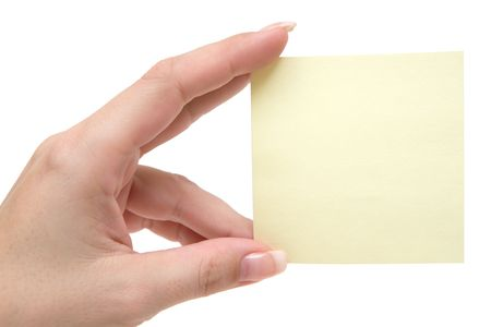 textfield: Woman holding a blank note. Isolated on a white background.