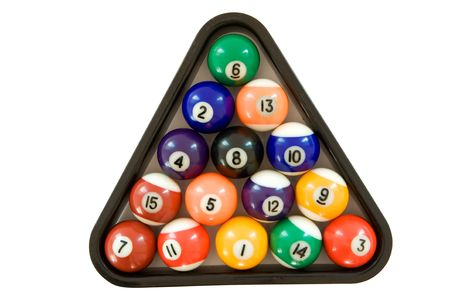 Billiard triangle with colorful billard balls. Isolated on a white background. photo