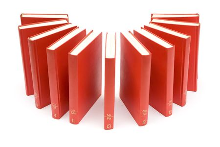 Arranged red books. White background. Stock Photo