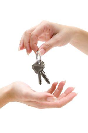 home key: Recibir un manojo de llaves. Aislada en un fondo blanco.  Foto de archivo