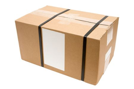 Brown parcel with blank label isolated on a white background.