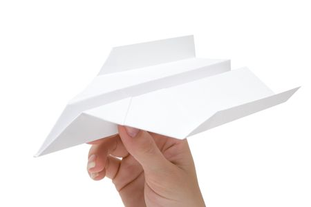 Woman holding a folded plane. Isolated on a white background. Stock Photo - 2996183