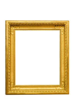 Ornamented golden picture frame. Isolated on a white background. Stock Photo
