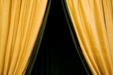 portals: Opening theater curtain. Golden fabric.