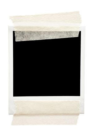 Empty frame taped with masking tape. Isolated on a white background. photo