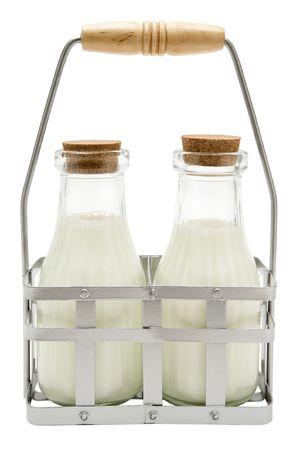 vacas lecheras: Desayuno leche aisladas sobre un fondo blanco.