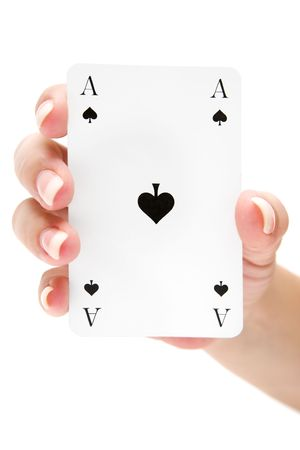 Female holding an ace of spades. Isolated on a white background.