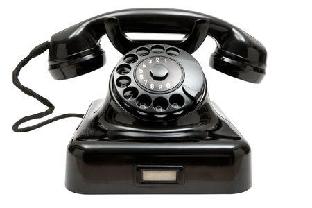 phone handset: Vecchio stile, telefono isolato su uno sfondo bianco.  Archivio Fotografico