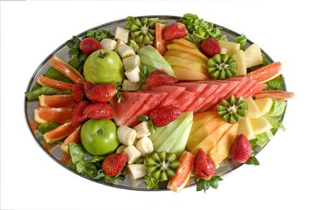 Colorful fruit salad catering platter with assorted fruits. Yumm... photo