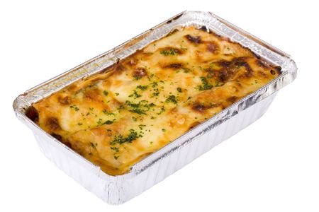 Traditional beef lasagna with b�chamel sauce and fresh spinach in takeout container. Isolated on white. photo