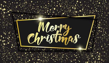 Merry Christmas 2018 celebration card concept, vector illustration. Golden confetti falling over black background, elegant black frame, sparkles and hand written calligraphic text.