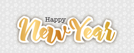 Happy New Year greeting card, vector illustration. Snowflakes pattern background, golden handwritten letters in paper cut technique. Elegant holidays background.