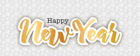 Feliz año nuevo tarjeta de felicitación, ilustración vectorial. Los copos de nieve modelan el fondo, letras manuscritas de oro en técnica del corte del papel. Elegante fondo de vacaciones.