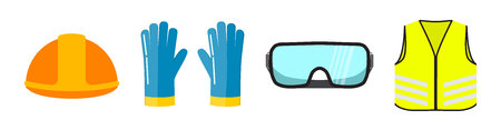 Safety equipment flat vector illustration, isolated on white background. Construction helmet, blue safety gloves, transparent glasses, neon safety vest front view.