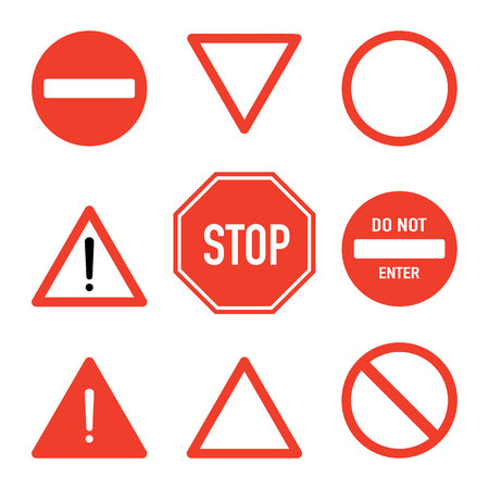 Set of road stop signs, flat vector illustration isolated on white background. Traffic safety sign concept, different shapes and forms. Stop sign set, front view. Traffic warning signs. 向量圖像