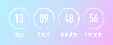 Countdown template ui web design, vector illustration. Blurred gradient colors background, days, hours, minutes and seconds timer.