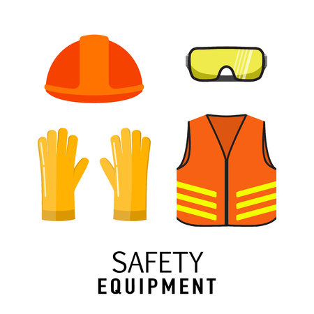 Safety equipment items flat vector illustration, isolated on white background. Construction helmet, transparent glasses, safety gloves, orange neon safety vest. Illustration