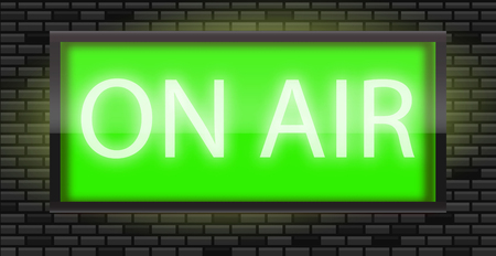 On Air broadcast radio sign on black bricks wall background, vector illustration. Glowing green neon badge, studio warning board. 向量圖像