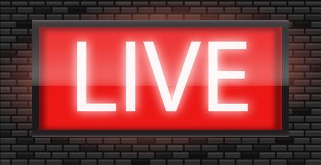 Live broadcast radio sign on black bricks wall background, vector illustration. Glowing red neon badge, studio warning board.