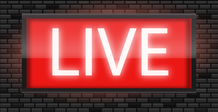 Live broadcast radio sign on black bricks wall background, vector illustration. Glowing red neon badge, studio warning board.