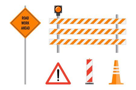 De weg werkt geplaatste tekens, vlakke vectorillustratie. Werk weg vooruit, oranje waarschuwingsbord, gestreepte waarschuwingspalen, barricade, verkeer kegel, cartoon elementen instellen. Verkeersveiligheid waarschuwing tekenen concept.