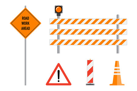 Road works signs set, flat vector illustration. Work road ahead, orange warning sign, striped warning posts, barricade, traffic cone, cartoon elements set. Traffic caution warning signs concept. Illustration