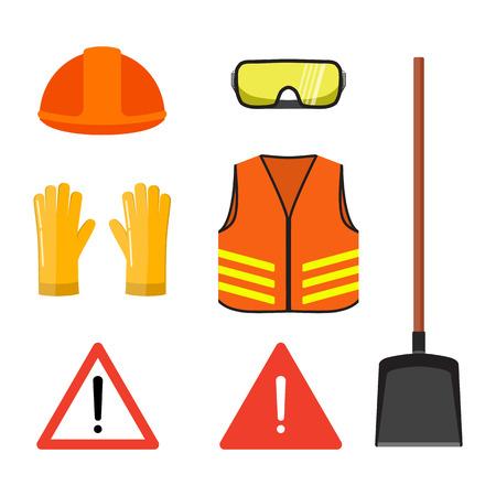 Sistema conceptual de las obras viales, aislado en el ejemplo plano blanco del vector. Casco de seguridad, gafas, guantes, chaleco naranja neón, pala y señales de advertencia. Ilustración de vector
