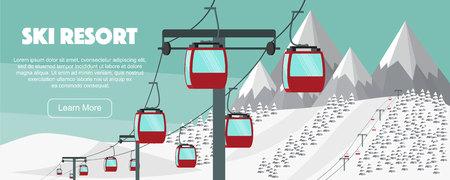 Ski resort, lift flat vector illustration. Alps, fir trees, mountains wide panoramic background. Aerial ropeways, hills, winter web banner design. Illustration