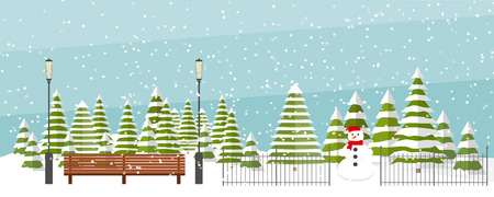 Cute vector winter background. Snowfall, fir trees in different shapes and forms, lanterns, bench, snowman. Winter park under snowfall.