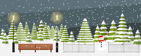 Cute vector evening winter background. Snowfall, bench, fir trees in different shapes and forms, lanterns, snowman. Outside park landscape.