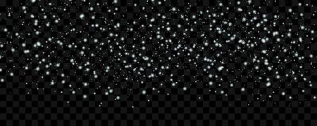 White tender snow falling over wide dark transparent background, vector illustration. Winter texture graphic design elements. Illustration