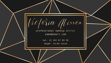 Abstract tirangles low poly business card. Geometric black shapes, gold gradient, makeup artist template conceptual vector illustration. Illustration
