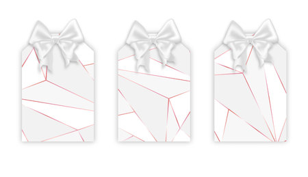 Geometric triangles label set, vector illustration. Realistic labels mockup, rose pink stroke, white triangle shapes, low poly trendy texture. Beautiful ribbon silk white bow on the top.
