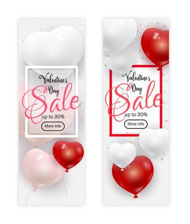 Valentines day sale banners design. Illustration