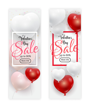 Valentines Day sale banners set, vector illustration. Realistic red, white and pink balloons flying in the air, confetti decoration, frame and calligraphic text. Festive bright love banner concept.