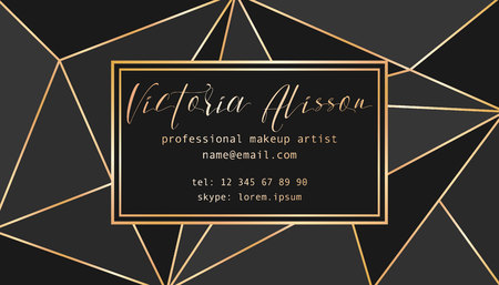 Abstract tirangles low poly business card. Geometric black shapes, gold gradient, makeup artist template conceptual vector illustration. Banque d'images