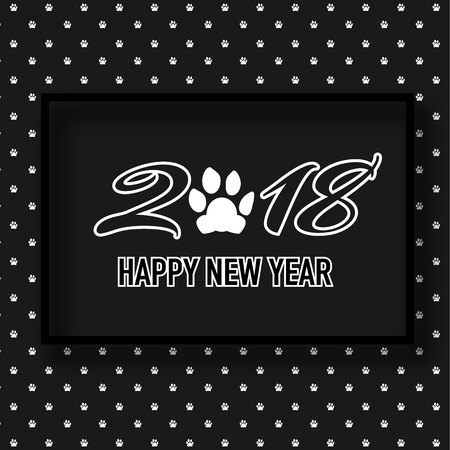 2018 Happy New Year banner with cute dog paw. Illustration