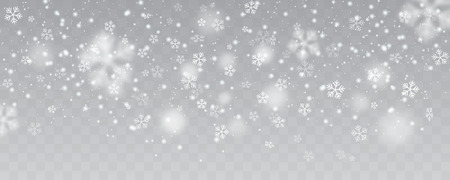 Vector heavy snowfall, snowflakes in different shapes and forms. Many white cold flake elements on transparent background.