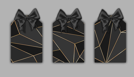 Realistic labels mockup, gold stroke, black triangle shapes, low poly trendy texture.