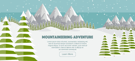 Flat mountains panoramic illustration.