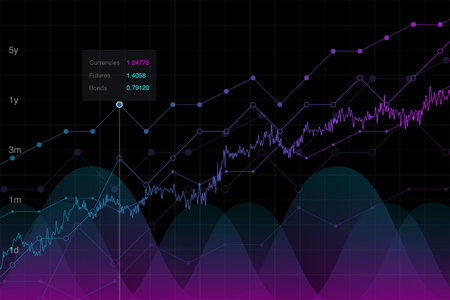 Financial background, forex chart trading graph idea, vector illustration. Neon market growth graph, analysis tools conceptual background. Investment monitor diagram, stock data.